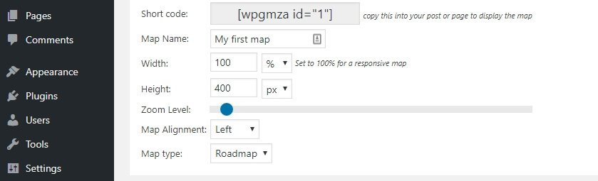 Configuring your Google map.