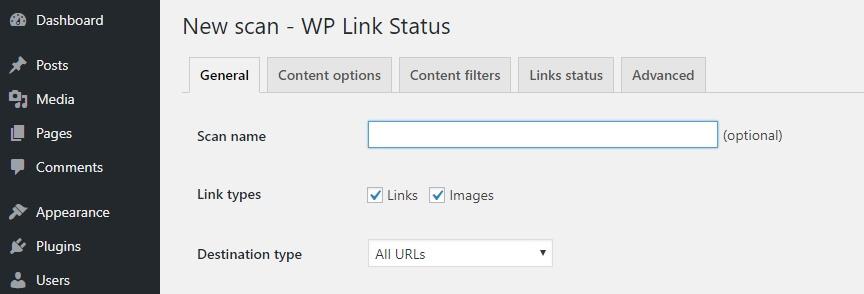 Configuring your broken link scan.
