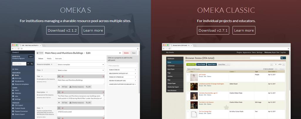 Omeka website builder