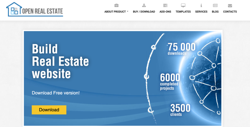open real estate homepage