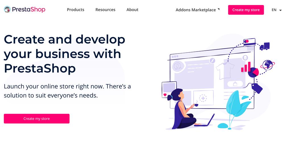 PrestaShop home page.