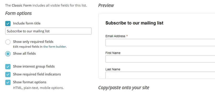 Prévisualiser votre formulaire d'inscription.