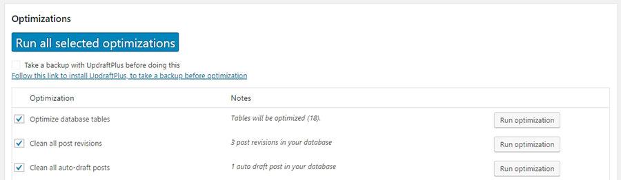 Choosing which database optimizations to run.