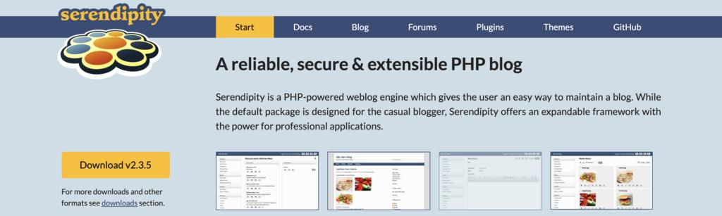 Serendipity blogging platform homepage