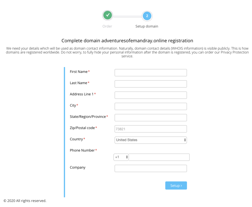 Domain name registration form