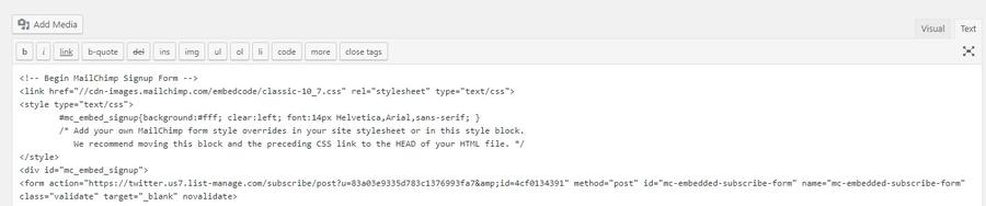 Ajout de HTML via l'éditeur WordPress.