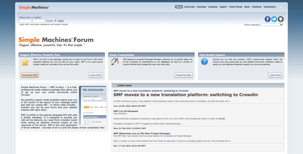 Screenshot of Simple Machine Forums homepage
