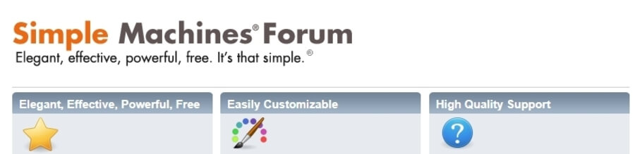 The Simple Machines Forum homepage.