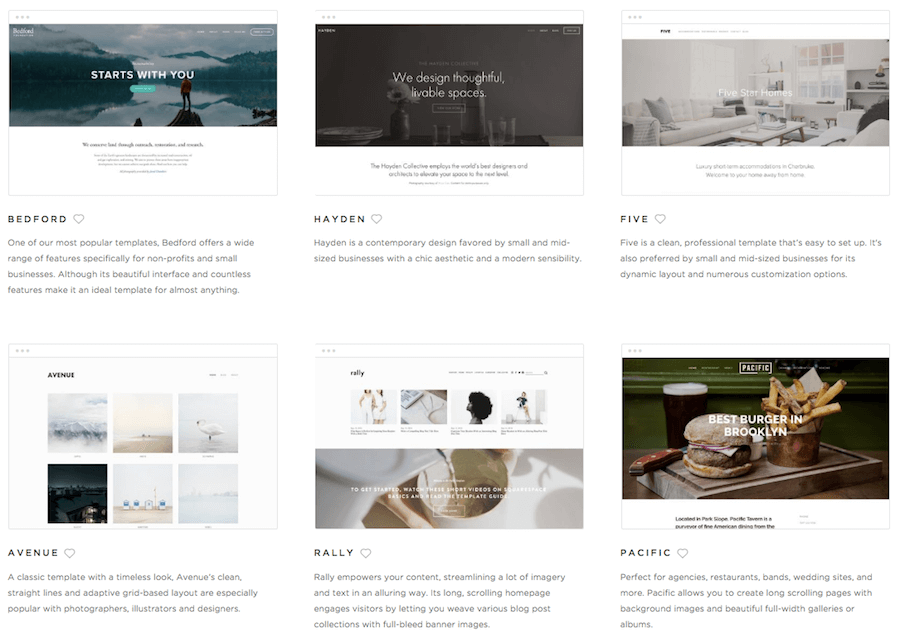squarespace template selection
