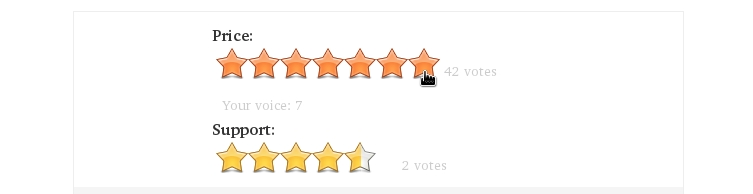 A star rating system.
