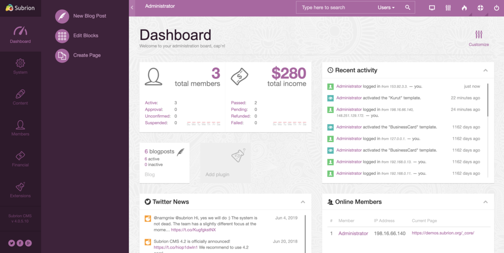 subrion open source CMS demo page to view the dashboard of the blogging platform
