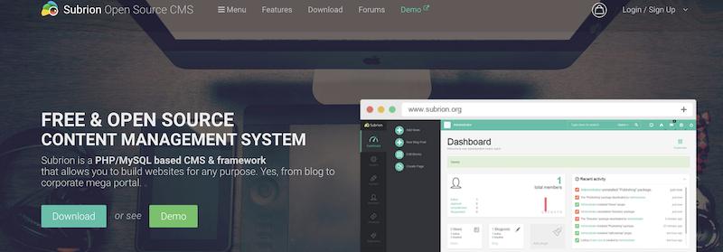Subrion blogging platform homepage