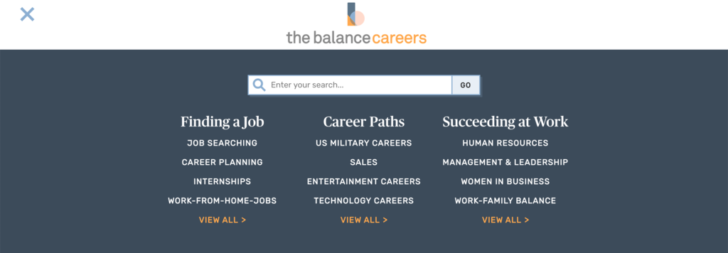 The Balance Careers frontpage.