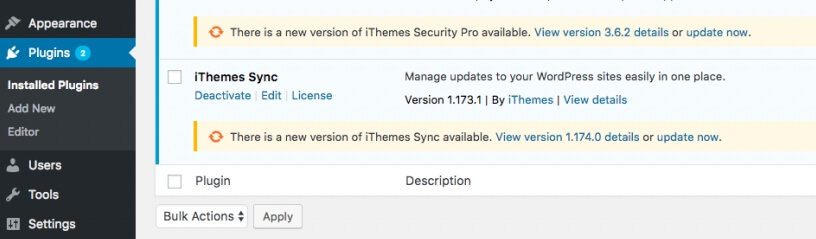 An example of two plugins that require updates.
