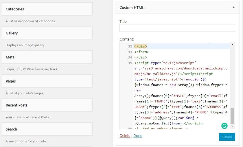 Le widget HTML personnalisé en action.