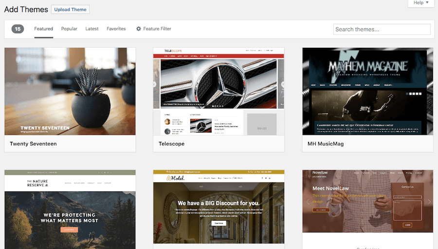WordPress theme selection.