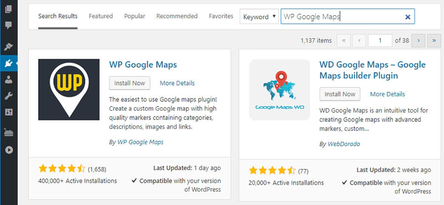 Installing the WP Google Maps plugin.