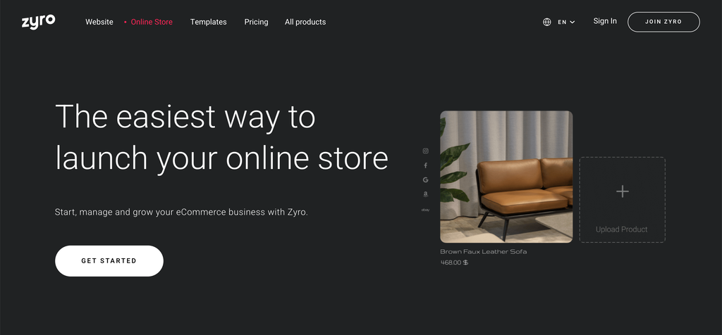 Zyro Online Store web page.