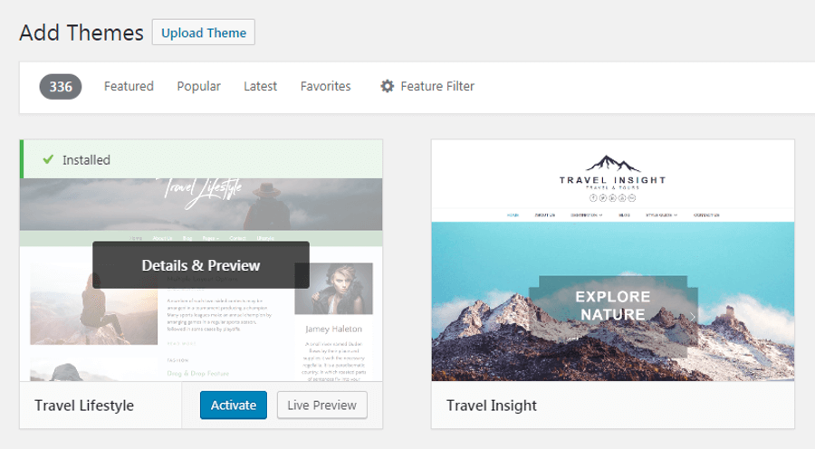 Activating a WordPress travel theme.