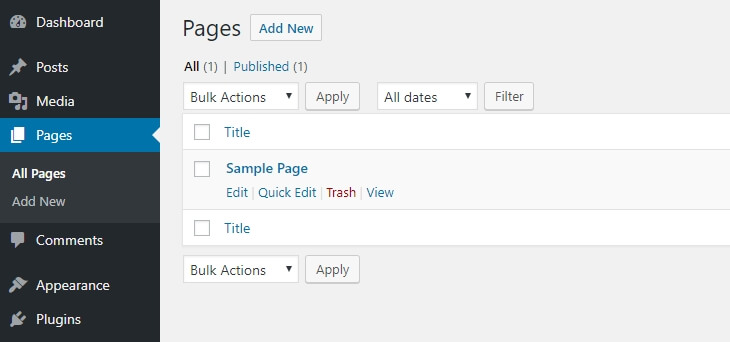 Adding new pages in WordPress.