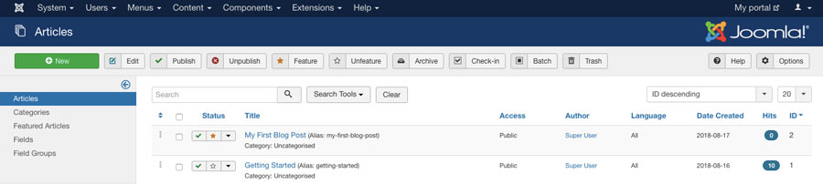 Creating blog posts in Joomla CMS