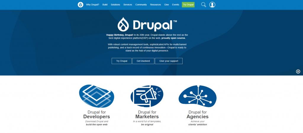 Drupal landing page.