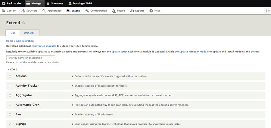 Modules menu in Drupal dashboard