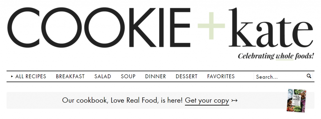 cookie and kate is a great example of a vegetarian food blog