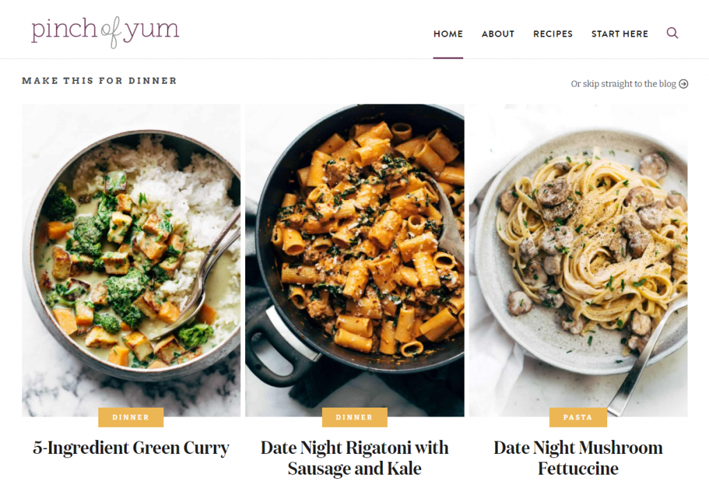 Pinch of Yum is a great example of a visually appealing food blog