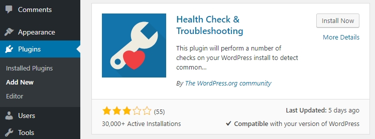 Installation d'un plugin WordPress.