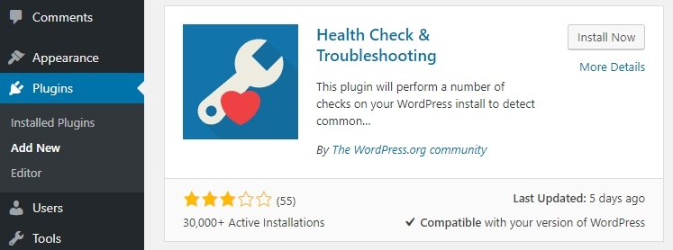 Installing a WordPress plugin.