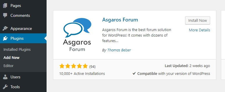 Installing the Asgaros Forum plugin.