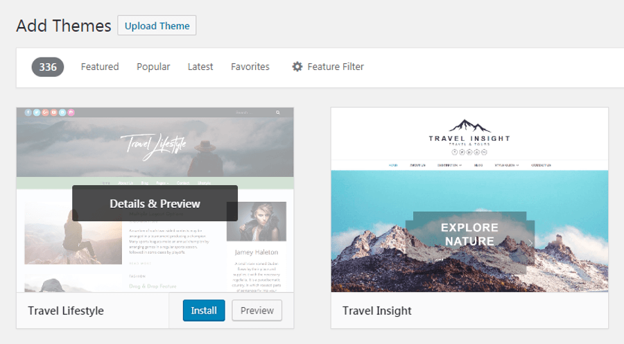 Installing a WordPress travel theme.