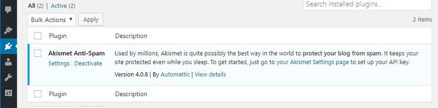 Votre onglet plugins WordPress.