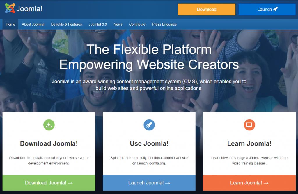 Joomla landing page.