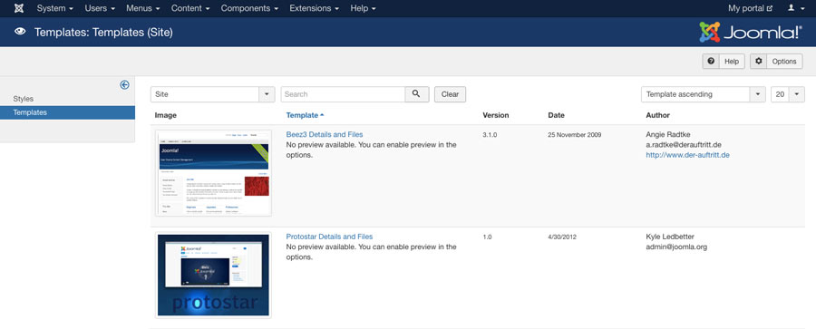 Joomla templates menu in the dashboard