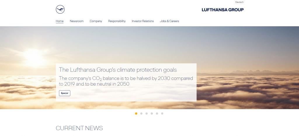Lufthansa landing page.