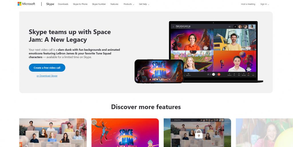 Microsoft Skype landing page.