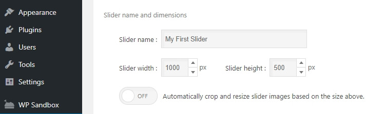Editing your slider's settings.
