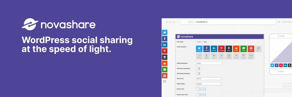 Novashare WordPress Social Media plugin