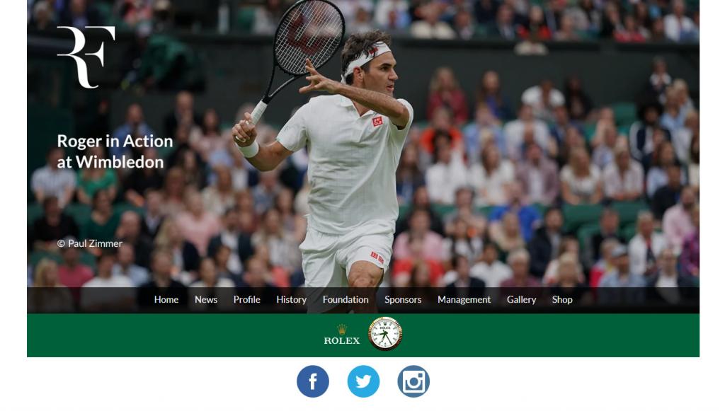 Rodger Federer's landing page.
