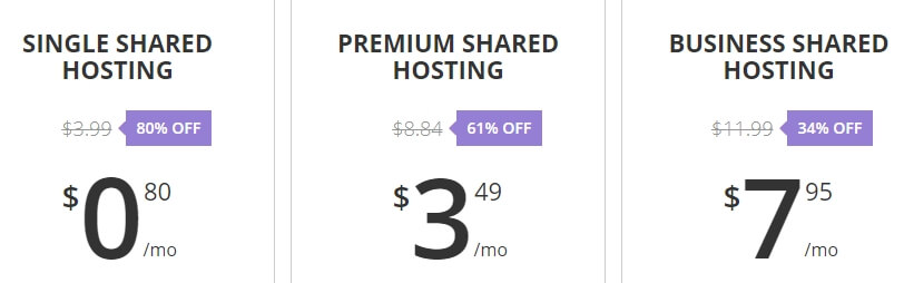 Hostinger's shared hosting plans.