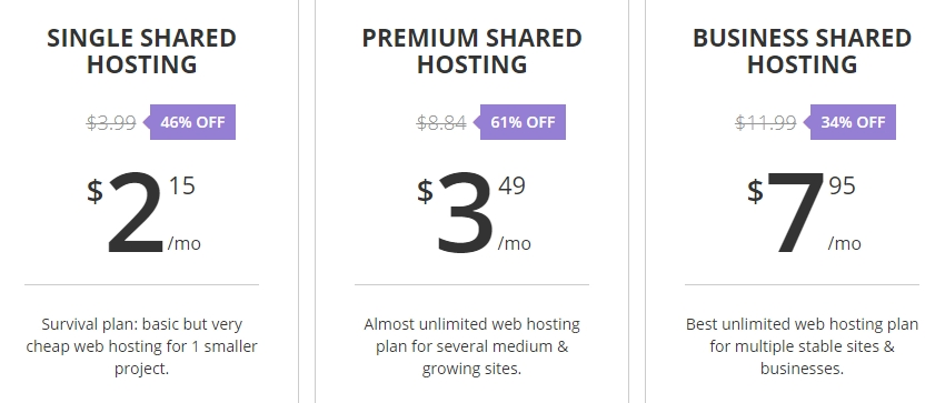 Our shared hosting plans.