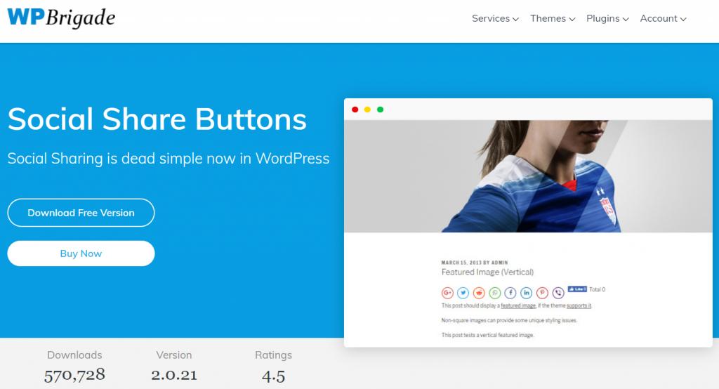 Social Share Buttons WP Brigade WordPress Social Media plugin
