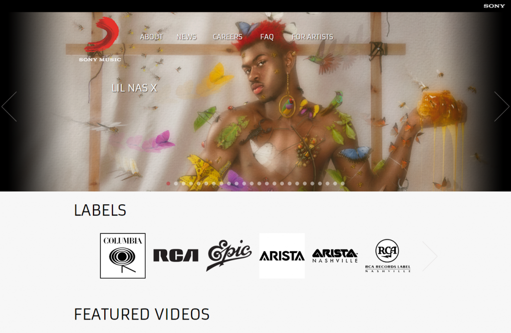 Sony Music landing page.