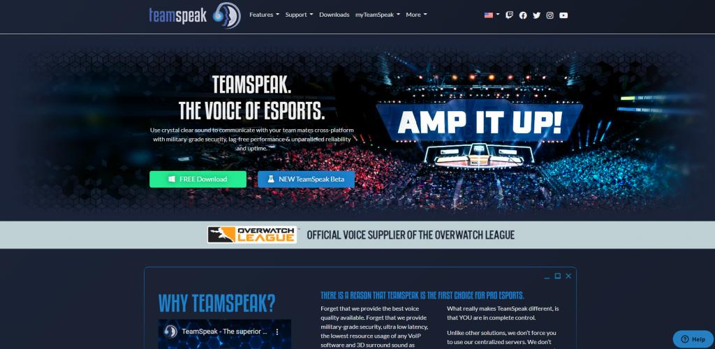 Team speak landing page.