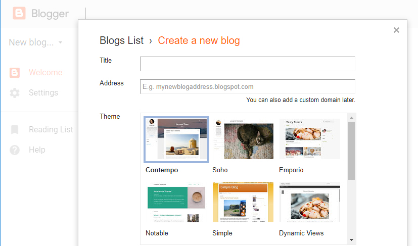 Some of the themes Blogger offers.