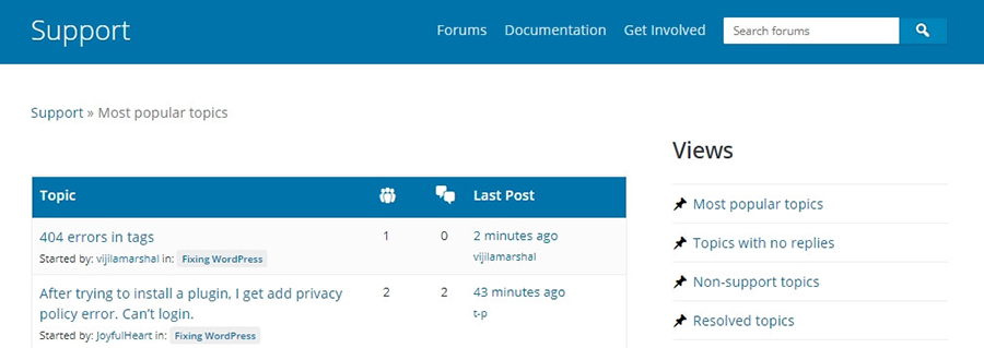 The WordPress.org support forum.