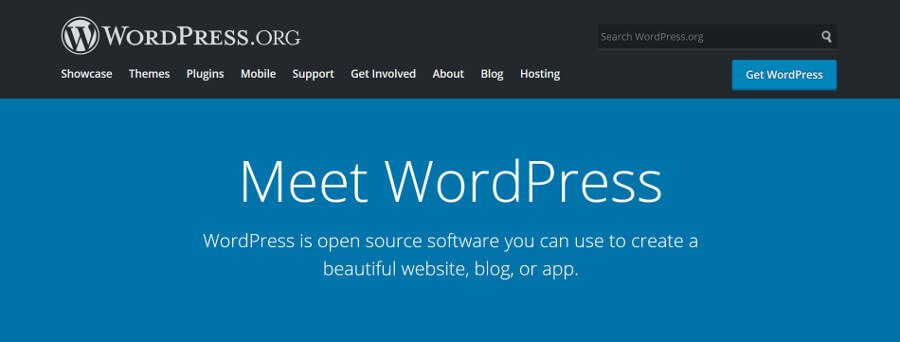 The WordPress home page.