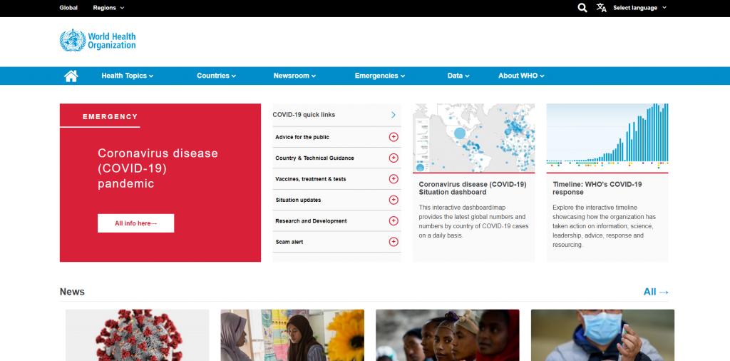 World Health Organization landing page.